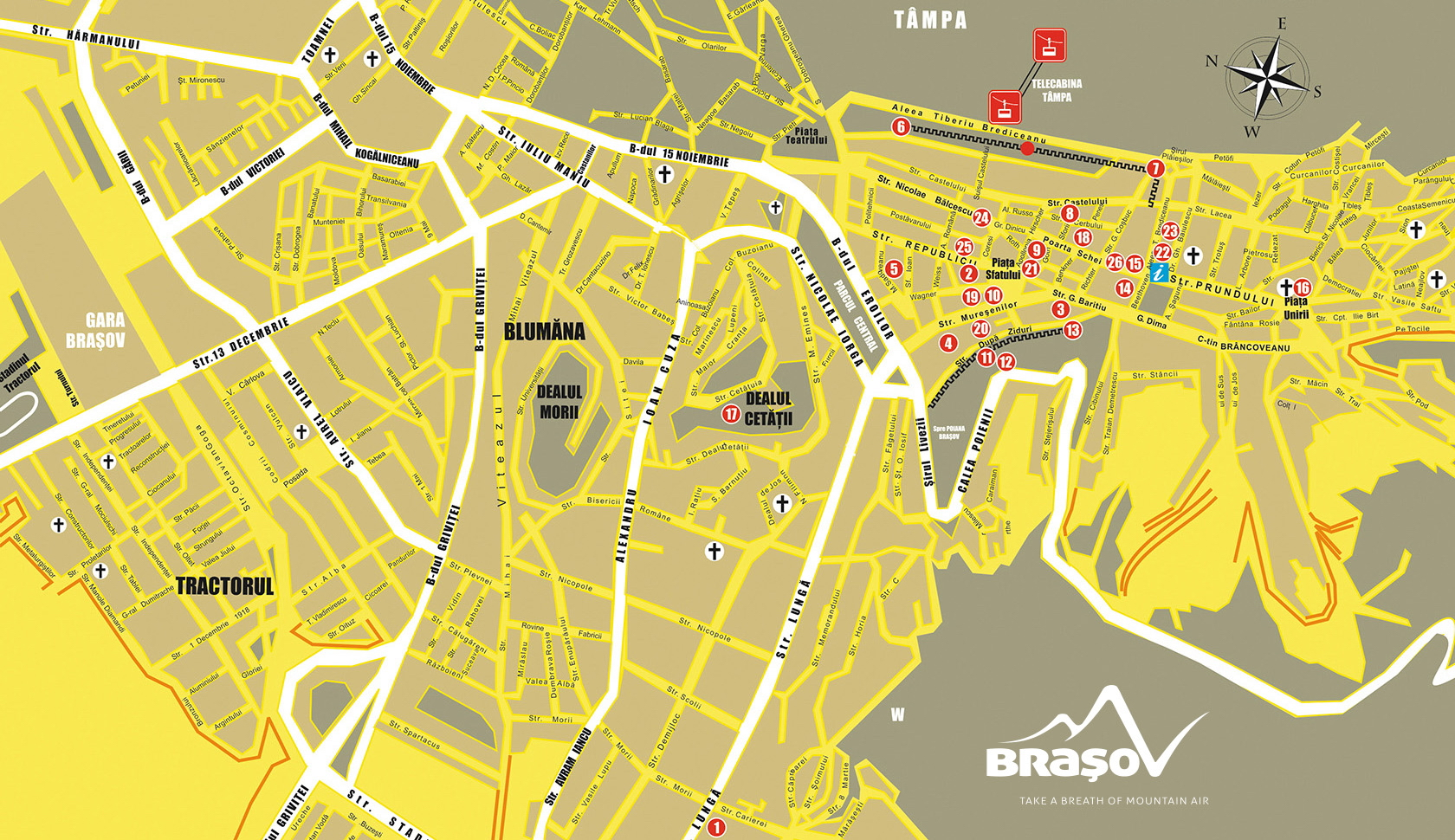 Brasov - Tourist Map of Brașov City